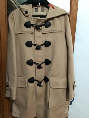 全新正品Burberry Brit Hooded Duffle Coat  羊毛四牛角UK10 駝 法國扛回現貨
