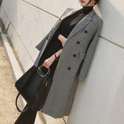 千鳥格毛呢外套女中長款韓版2018冬季新款流行過膝修身格子大衣潮