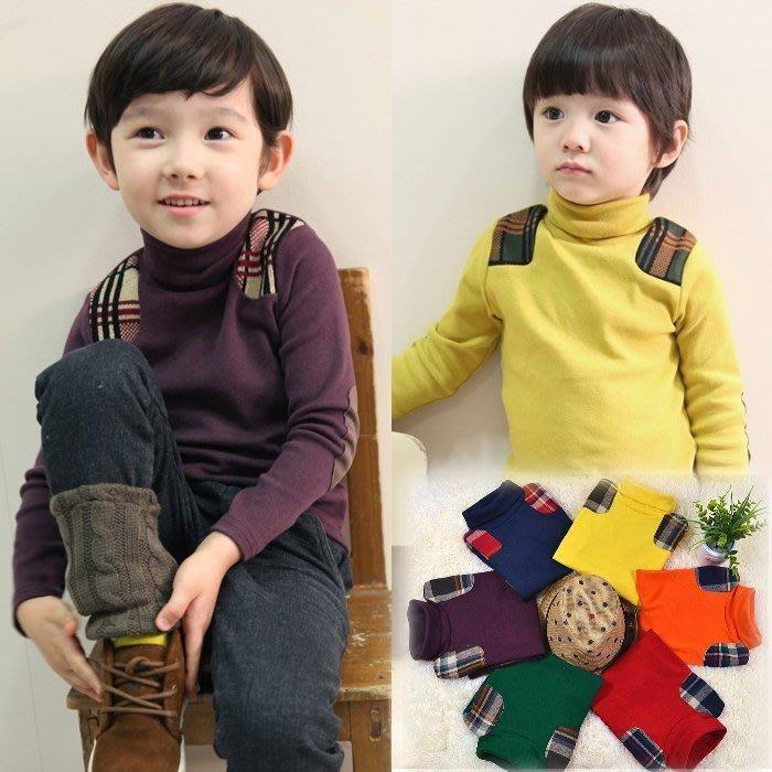 韓版《格子高領款》加絨 百搭長袖上衣 (L4-4)