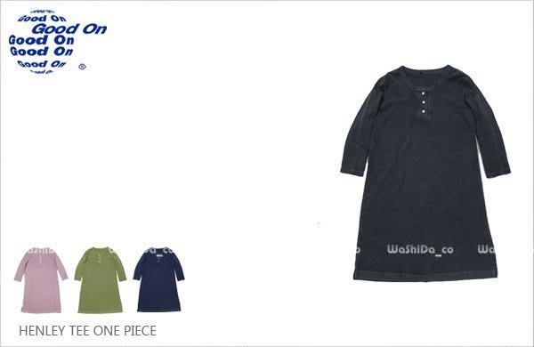 WaShiDa 女裝 Good On 日本品牌 自然 色落 亨利領 ONE PIECE 洋裝 長板 七分袖 T恤