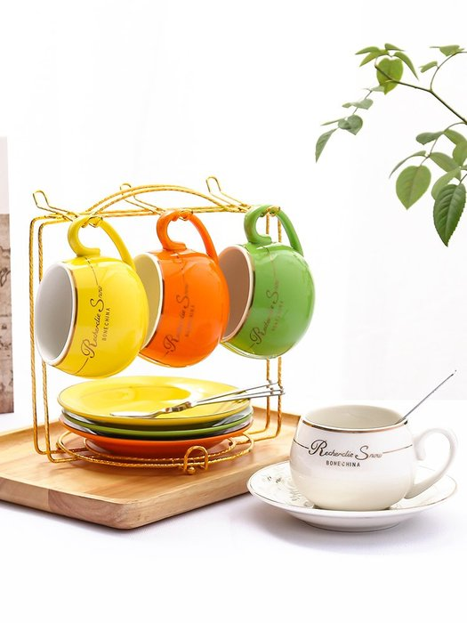 歐式小奢華陶瓷咖啡杯套裝創意簡約家用咖啡杯子下午茶杯帶勺送架