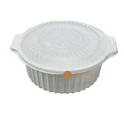 【金禾庄包裝材料】0507圓形燉盅盒(底+蓋)-白 2000cc 50組 餐廳專用 微波容器 塑膠餐盒 外帶容器