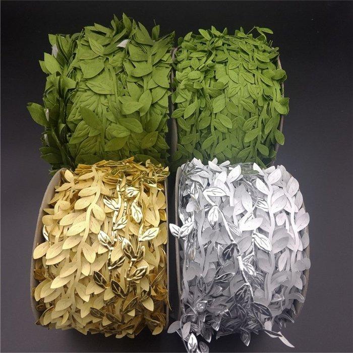 福福百貨~DIY20米仿真樹葉布條葉子綠色花環材料配件葉條人造花手工材料寢具/家飾園藝~