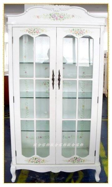 韓系鄉村風 彩繪玫瑰花白色雙門玻璃三尺餐櫃 玻璃櫃展示櫃 置物櫃高低櫃愛戀家居公仔收納櫃餐廳客廳高櫃維多利亞風【歐舍傢居