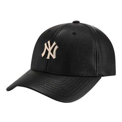【韓Lin連線代購】韓國 MLB - NY金屬黑色皮革棒球帽 ALL METAL LOGO ADJUSTABLE NEW