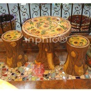 INPHIC-手繪陶瓷 馬賽克 太陽花圖案 花園戶外庭院家具桌椅 一桌兩凳