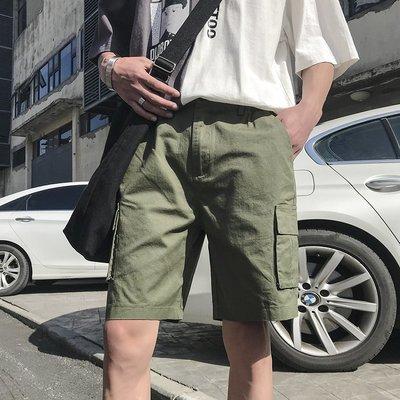 短褲 休閒短褲 牛仔短褲 休閑短褲男韓版寬松純色五分褲青少年百搭工裝褲潮男褲