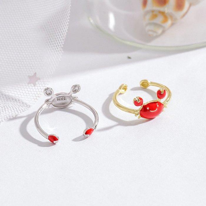 925純銀螃蟹戒指女可愛時尚個性開口小眾設計感網紅潮人食指戒子