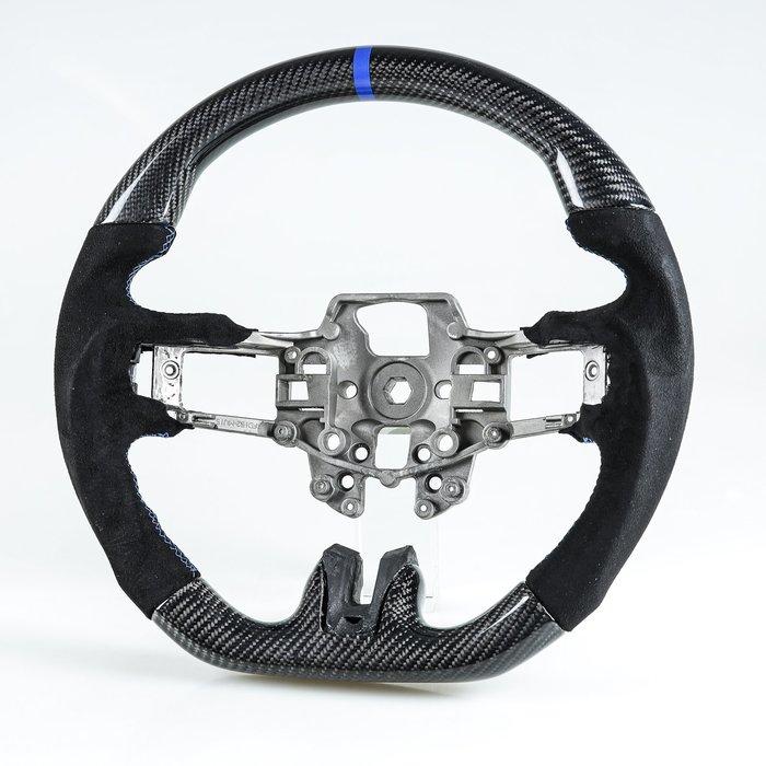 卡夢碳纖維+麂皮+藍環 方向盤 Ford Mustang EcoBoost 5.0GT 用2015-2018年式適用