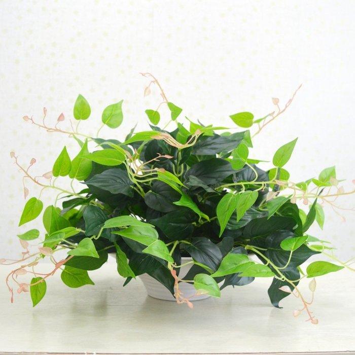 仿真植物假花草客廳室內外裝飾塑料綠蘿葉圓盤套裝盆栽景綠植擺件綠植牆仿真植物摆件牆裝飾客廳室内仿真植物盆栽