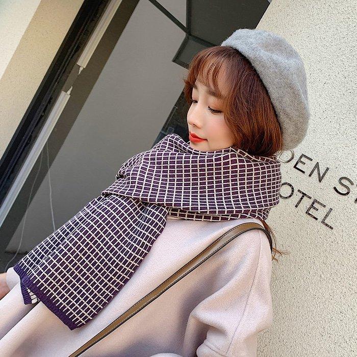 韓版百搭新款格子圍巾女秋冬季加厚保暖針織圍脖學生軟妹披肩兩用