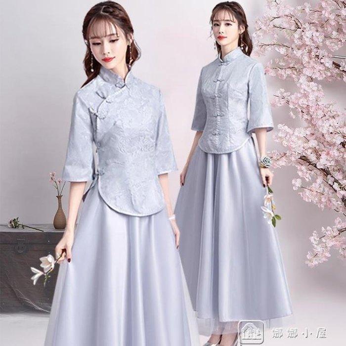 中式伴娘服女新款姐妹團中國風伴娘團禮服復古民國風旗袍春