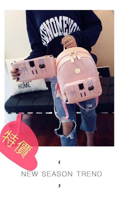 東大門平價鋪   兩件套雙肩包,女韓版小清新學院風學生書包,卡通小貓咪PU雙肩背旅行包