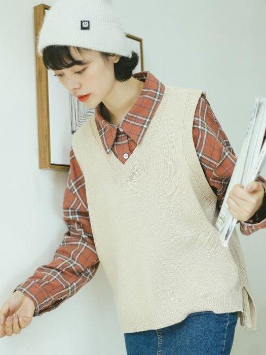 毛衣背心 韓版v領針織馬甲女秋冬學院風毛衣背心寬鬆外穿學生無袖毛線坎肩   蜜拉貝爾