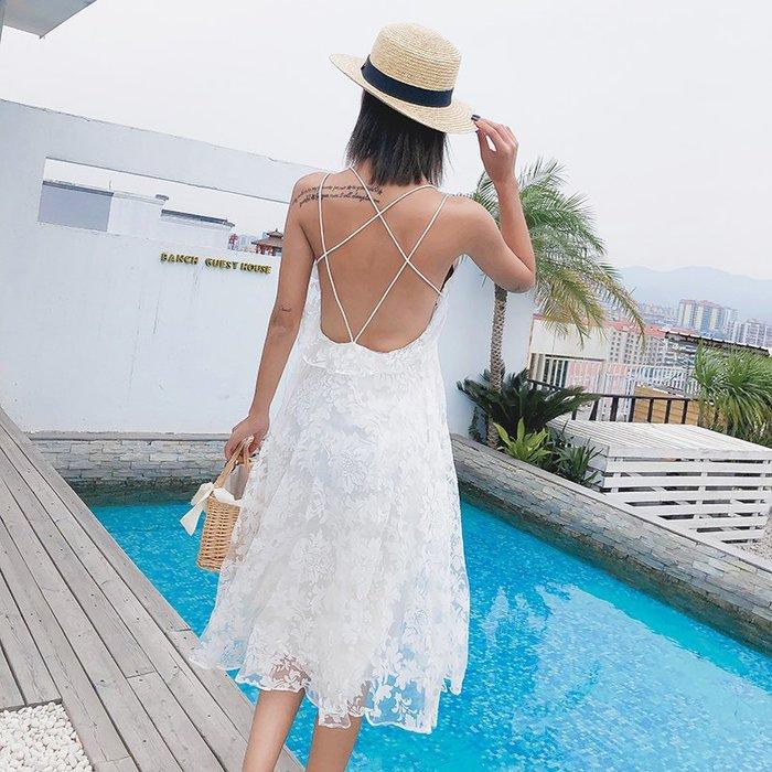 沙灘裙子仙女海南三亞海邊度假長裙性感露背泰國吊帶連衣裙蕾絲仙