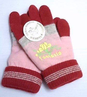 款零碼 ~╮典雅花朵~女童保暖毛線手套8y內    ╭~Q~BABY