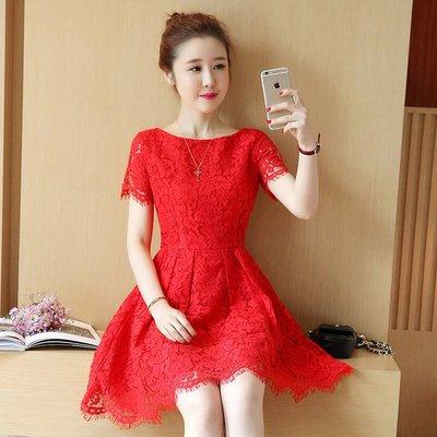 蕾絲連衣裙2017夏裝新款女裝氣質收腰顯瘦中長款短袖紅色韓版裙子
