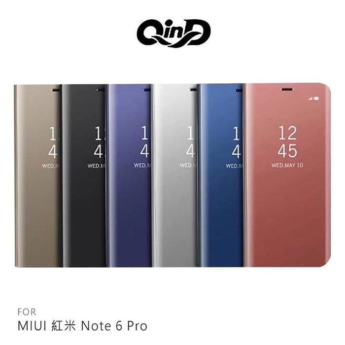 QinD MIUI 紅米 Note 6 Pro 透視皮套 透視皮套 側翻皮套 手機套 保護殼【台南MIKO手機館】