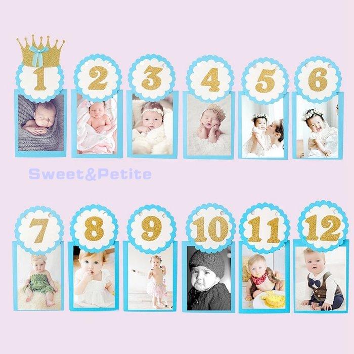PR498❤寶寶12個月照片周歲相框❤ 嬰兒滿月 新生兒 成長紀錄 周歲派對 新生寶寶 Photo banners