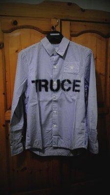 Neighborhood 10 S/S Truce /C-Shirt.LS Scrawl 噴墨 字體 電繡 貼布 條紋 襯衫  黃金S號