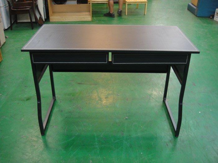 樂居二手家具館 全新中古傢俱賣場  BN-AJI*全新馬鞍皮雙抽屜書桌 狀元書桌 電腦桌*2手桌椅拍賣 辦公桌 會議桌