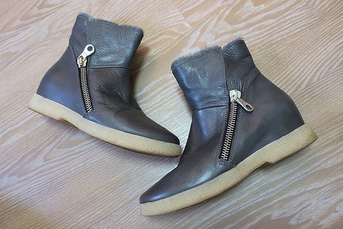 *Beauty*doralatina灰色軟皮毛毛拉鍊短靴 (真皮) 內增高 PH