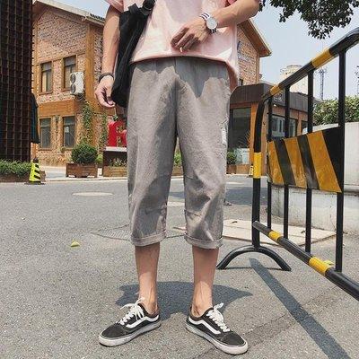 港風褲子男韓版潮流6七分褲男寬鬆休閒短褲男夏季薄款學生八7分褲