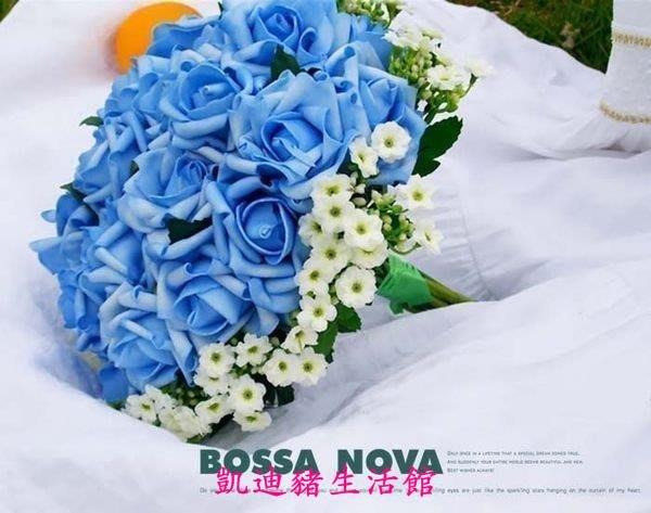 【凱迪豬生活館】海洋之藍 新款 韓式新娘手捧花 手花 24朵超大藍色玫瑰手捧花KTZ-201024
