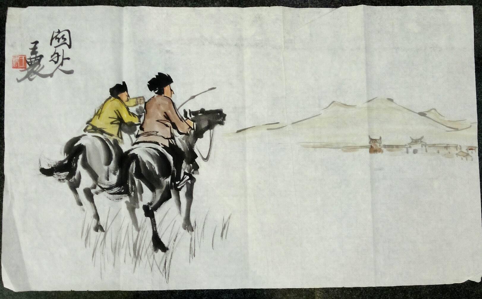 { 非比尋常 }== 大漠風光 ! 王農 以畫馬聞名於世界的藝術家 34.5 X58 cm !!