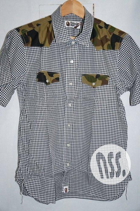 特價「NSS』A BATHING APE BAPE GINGHAM CAMO SHIRT 格紋 迷彩 短袖襯衫 S M
