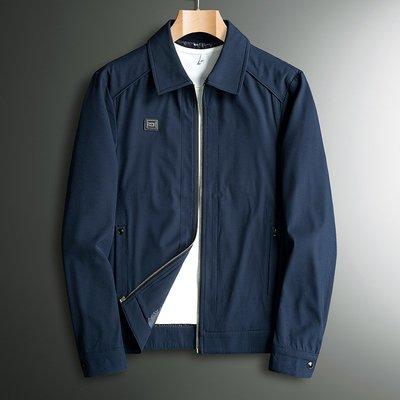 爸爸春秋外套薄款中年男裝秋季工裝翻領上衣  40中老年人50歲夾克衫