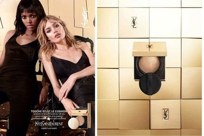 【Q寶媽】YSL 聖羅蘭 超模光氣墊粉餅 蕊心+粉盒+粉撲 蕾絲氣墊