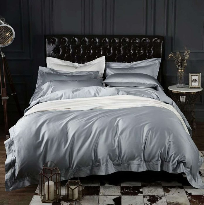 【J.Simple工業 北歐】五星級飯店100支埃及棉銀灰簡約系列 床包四件組 床單 被套 枕套 雙人床包床包 床笠 四