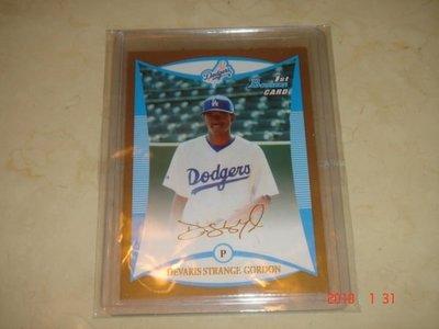 美國職棒 Dodgers Dee Gordon 2008 Bowman Draft Picks Prospects Gold # BDPP53 RC 球員卡 新人卡