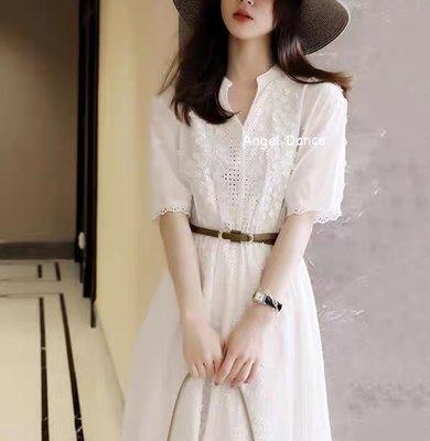 *Angel  Dance*刺繡蕾絲洋裝(白色)@日韓款 法式赫本風 甜美氣質 鏤空 V領 小禮服 送腰帶@現貨+預購