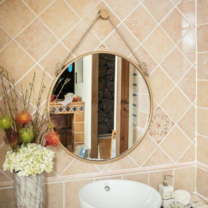 壁掛鏡 北歐式鐵藝圓形掛鏡衛生間浴室鏡化妝鏡裝飾鏡壁掛梳妝鏡穿衣鏡子T
