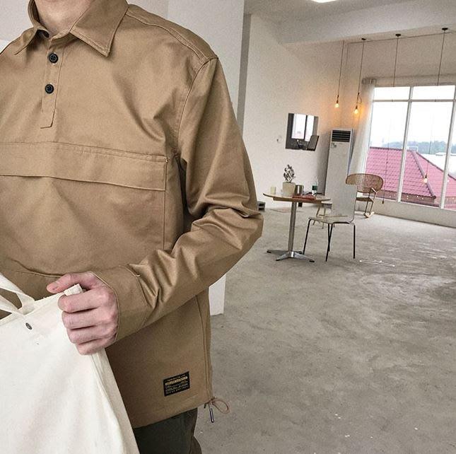 【NoComment】街頭休閒 質感時尚 復古套頭大口袋素面長袖襯衫 三色 Kaws Stussy