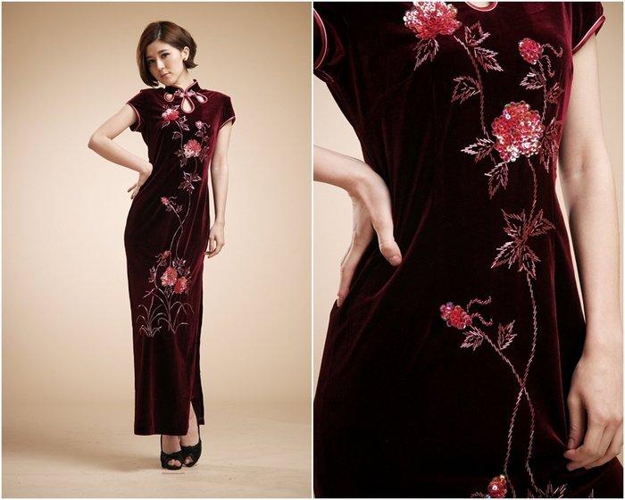 !(中國藍Anewei))頂級手工訂製串珠玫瑰紫紅絲絨朵兒花開長旗袍~MLXL~婚宴 派對