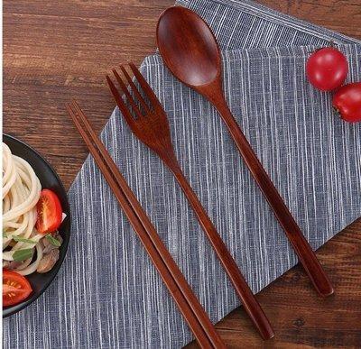 日式便攜式筷子勺子套裝木質餐具三件套學生叉子勺子實木快子家用