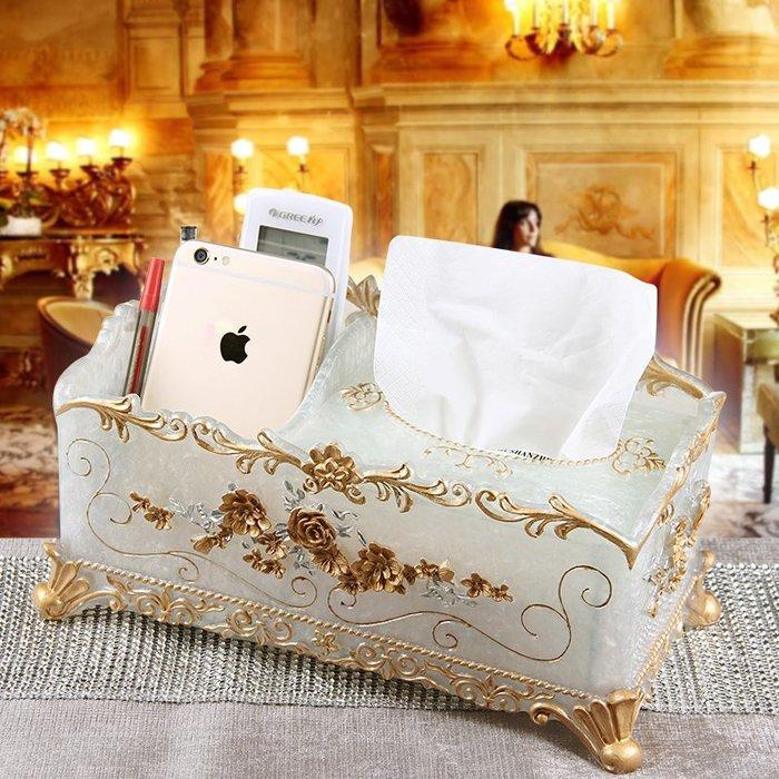 千夢貨鋪-歐式紙巾盒多功能桌面抽紙盒創意樹脂紙抽盒客廳茶幾遙控器收納盒#收納盒#牙籤盒#紙巾盒#棉簽盒#創意