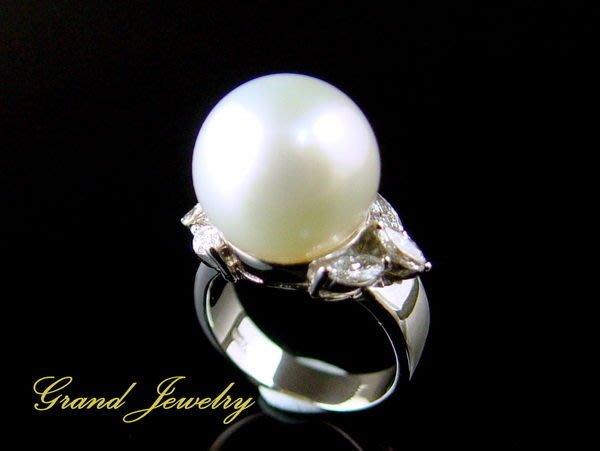 女人專屬的寶石 南洋珍珠 海水珠 白珠13.8mm 馬眼鑽石戒指 18K白金 附保證書 【大千珠寶】台北五十年寶石專賣店