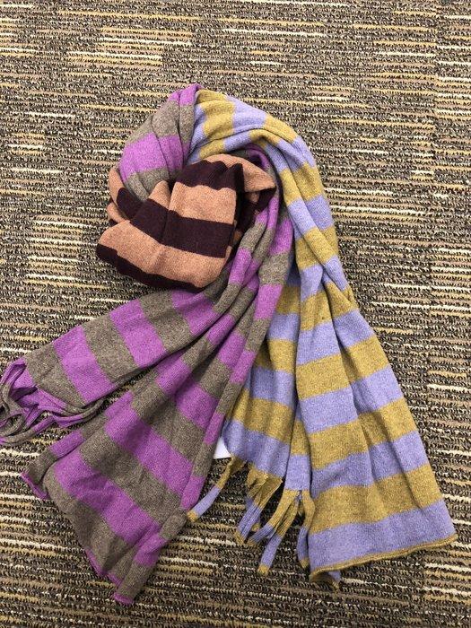喬瑟芬【CATHERINE ANDRE 】特價$9200~2010 秋冬橫條紋混色羊毛流蘇圍巾(2色)~全新真品!