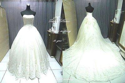 *~時尚屋~*二手婚紗禮服~《二手白紗》香檳白色馬甲蕾絲精緻設計師造型款~E599(歡迎預約試穿)