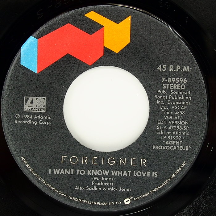 45 rpm 7吋單曲 Foreigner 【I want to know what love is】美國 Atlant