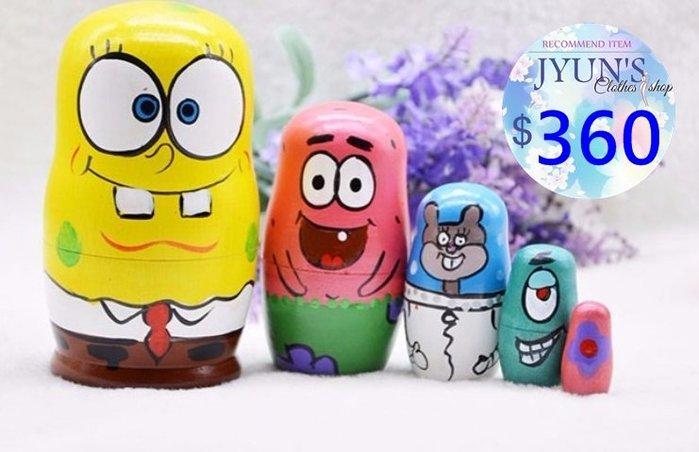 套件 俄羅斯套娃海綿寶寶木製手繪傳統工藝品居家設計進口正品擺件裝飾品兒童玩具環保5層生日禮情人節禮物2色JYUN'S預購