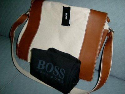 HUGO BOSS 帆布 皮革 側背包