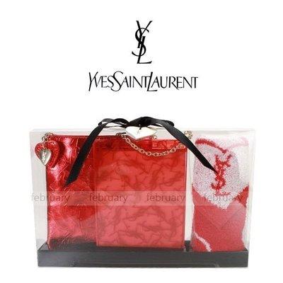 february 小舖 - [全新真品] 日本限定販售 YSL 滿版LOGO提袋鏡子方巾三入禮盒組