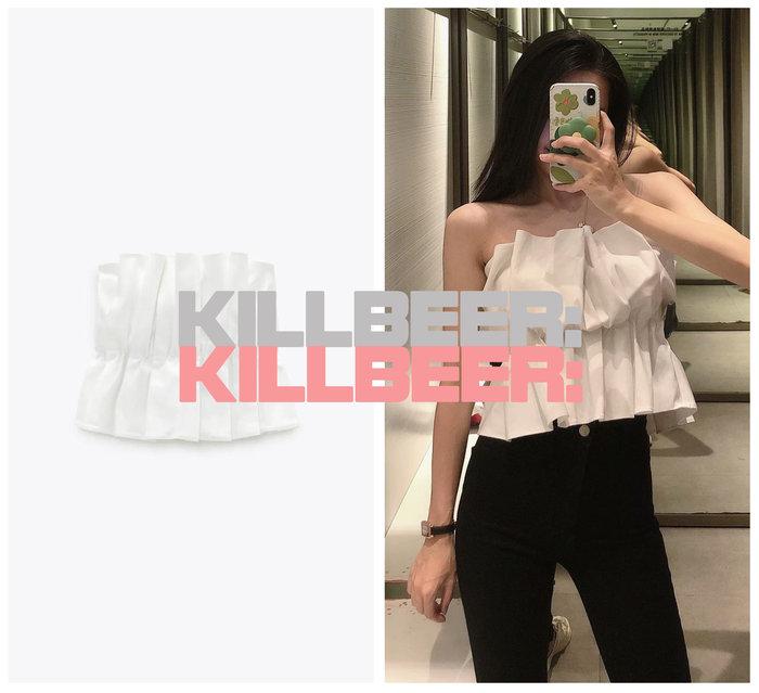 KillBeer:身為名媛的自傲之 歐美復古簡約設計感裸白性感立體剪裁花苞抓皺收腰顯瘦平口背心上衣A072408