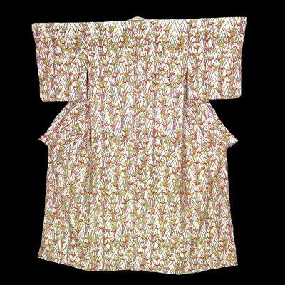 【茶】日本和服 絹 小紋 1-851