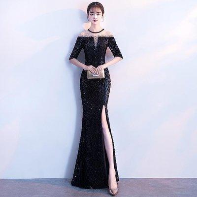 日和生活館 晚禮服女宴會高貴優雅黑色長版輕熟魚尾名媛主持人連身裙S686